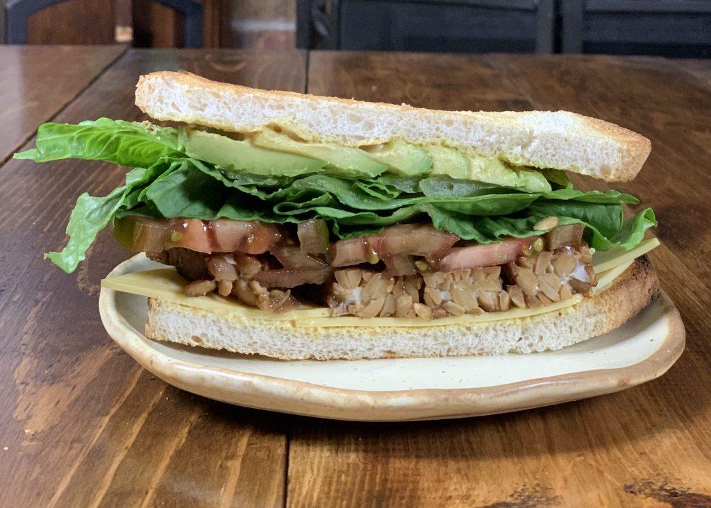 Tempeh bacon blt sandwich on sour dough