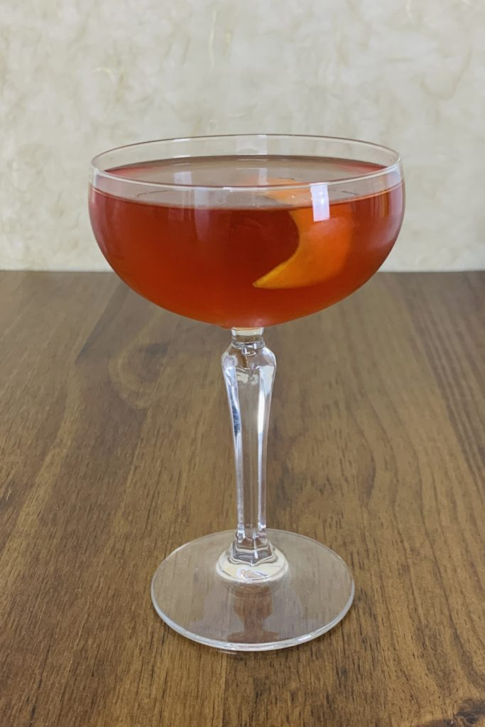 Boulevardier in Coupe Glass - Whiskey Cocktails that don't require a shaker
