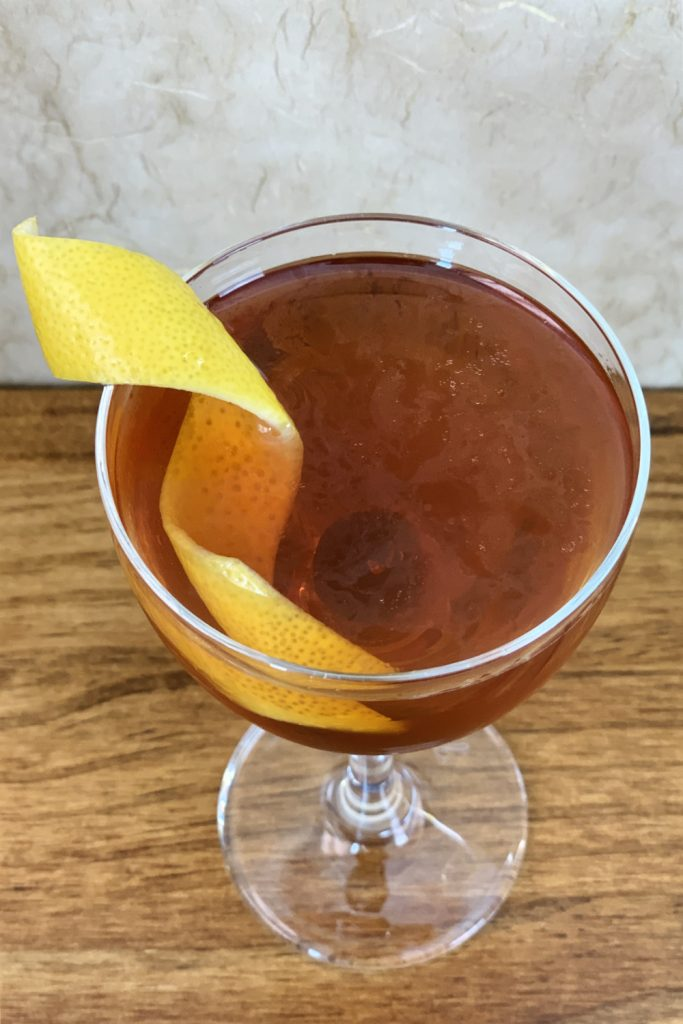 Orange oils on surface of cocktail - Whiskey Cocktails that don't require a shaker