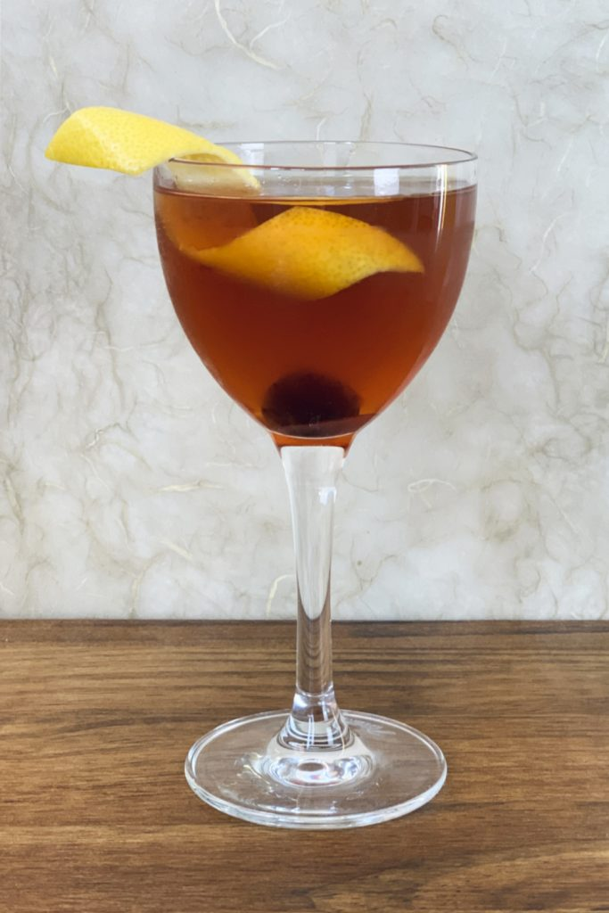Manhattan in Nick & Nora Glass - Whiskey Cocktails that don't require a shaker