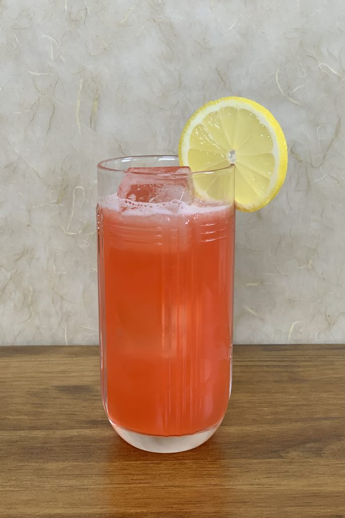 Strawberry Lemonade made with strawberry-infused gin.