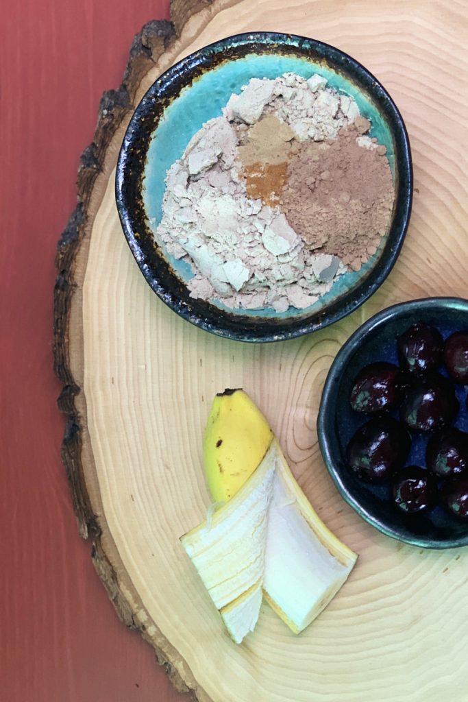 Chocolate Cherry Adaptogen Smoothie ingredients