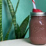 Chocolate Cherry Smoothie in Ball Jar